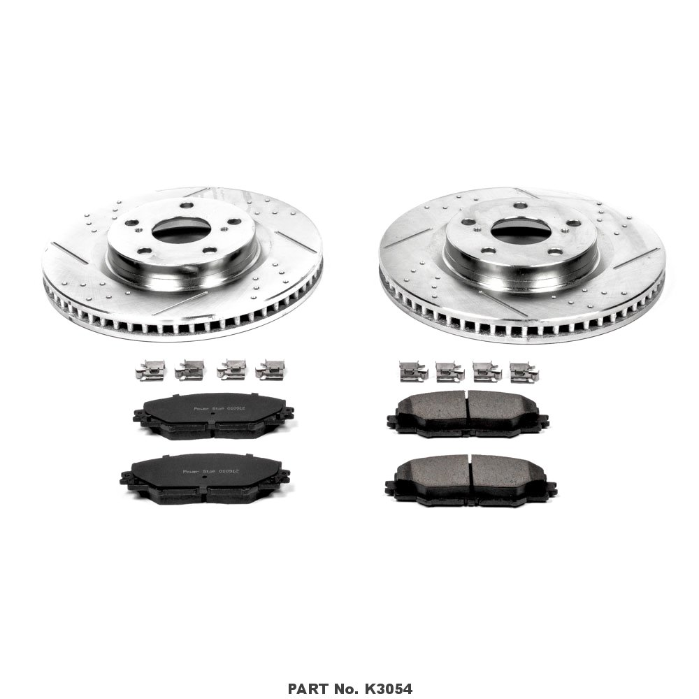 Power Stop K3054 Front Ceramic Brake Pad and Cross Drilled//Slotted Combo Rotor One-Click Brake Kit