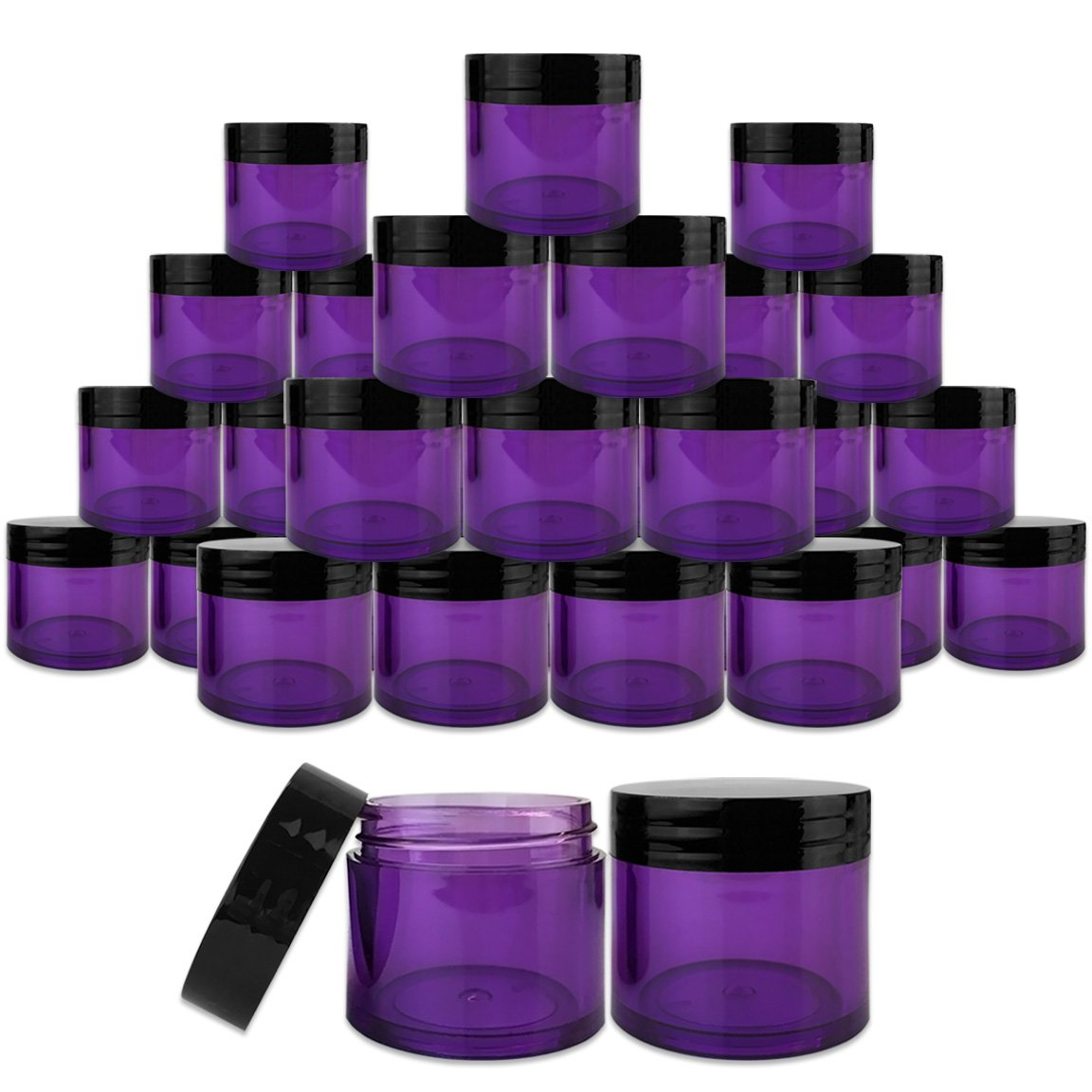 Beauticom 30 Pieces 30G 30ML 1 Oz Thick Wall Round PURPLE CLEAR Plastic Container Jars with Black Flat Top Lids – Leak-Proof Jar – BPA Free