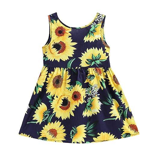 7363f4a901b4 Baby Sling Swing Skirt, Hopwin Kids Girls Sleeveless Sunflowers Print Front  Knot Princess Dress Clothes