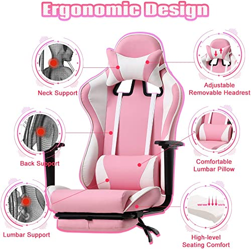 PC Gaming Chair Ergonomic High Back Executive Office Chair Pu Leather Adjustable Computer Chair Rolling Swivel Video Game Chair