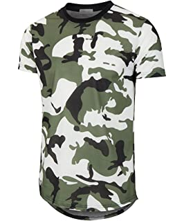 Image result for KLIEGOU Mens Hipster Hip Hop Ripped Round Hemline Pattern Print T Shirt (05MC)