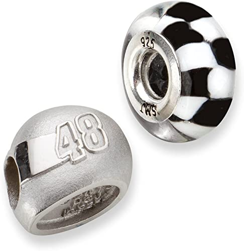 FB Jewels Solid 925 Sterling Silver Two Crossed Silver Flag Beads 11 3D Driver Helmet Bead