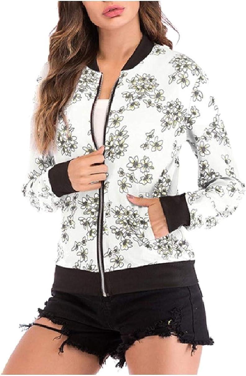 Fseason-Women Lightweight Long Sleeve Zipper College Bomber Jacket
