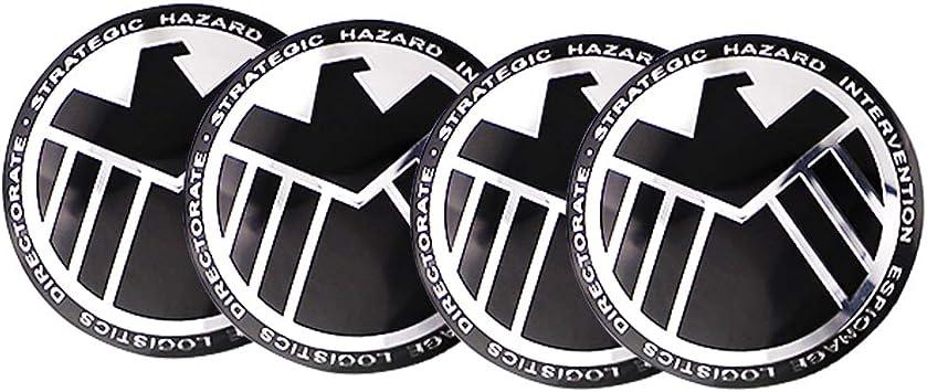 2.2 Inches Emblem Badge Stickers Circular arc Form 3D Stereo Anti-Rust Dustproof for Avengers Classic Agent of S.H.I.E.L.D Emblem Aluminum Alloy XDG 4PCS Wheel Hub Caps Centre Cover 56mm Silver