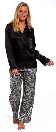 1d16b5f50 Ladies Black Satin Pyjamas Plain Pajamas Silk Feel Leopard Animal Silver  Lace Print