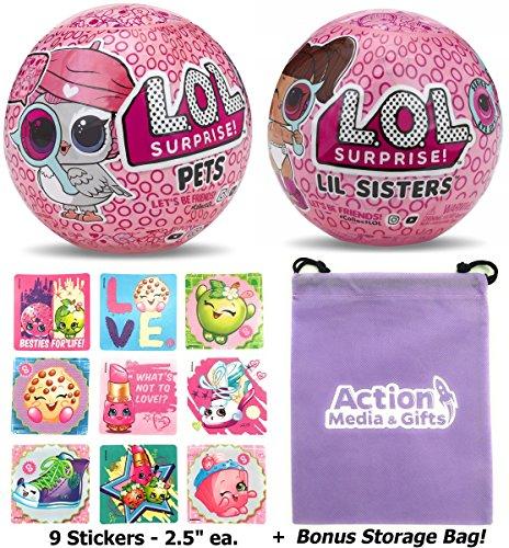 LOL Surprise Dolls Bundle includes (1) NEW Eye Spy Pets + (1) Lil Sister Series 4 + (9) Shopkins Stickers + BONUS Action Media Storage ()