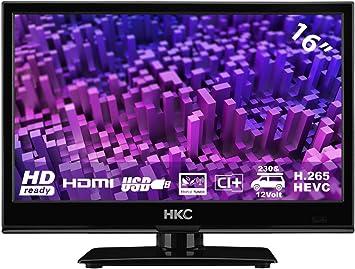 HKC 16M4: Televisor LED de 39,6 cm (16 Pulgadas) (HD-Ready, Triple Tuner, Ci+, Reproductor de Medios a través de USB 2.0, Cargador de Auto de 12 V): Amazon.es: Electrónica