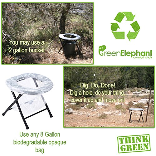 Green Elephant Folding Commode Portable Toilet Seat - Porta Potty And Commode Chair - Comfort Chair Perfect for Camping, Hiking, Trips, Construction Sites, and More By by Green Elephant (Image #7)