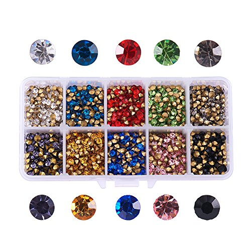 PH PandaHall 1 Box (About 3400) 10 Color Grade A Glass Pointed Back Chaton Rhinestones Jewelry Crystal Gems for Nail Art Decoration Leather Jacket High Heels Shoes Bag Clutches Decor ()