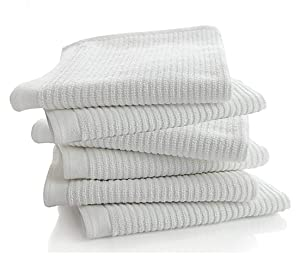 """Bar Mop Kitchen Bathroom Cleaning Towels, Set of 6, Size 16"""" x 19"""", First Quality, 100% Cotton, Brilliant White Color, Machine Washable"""