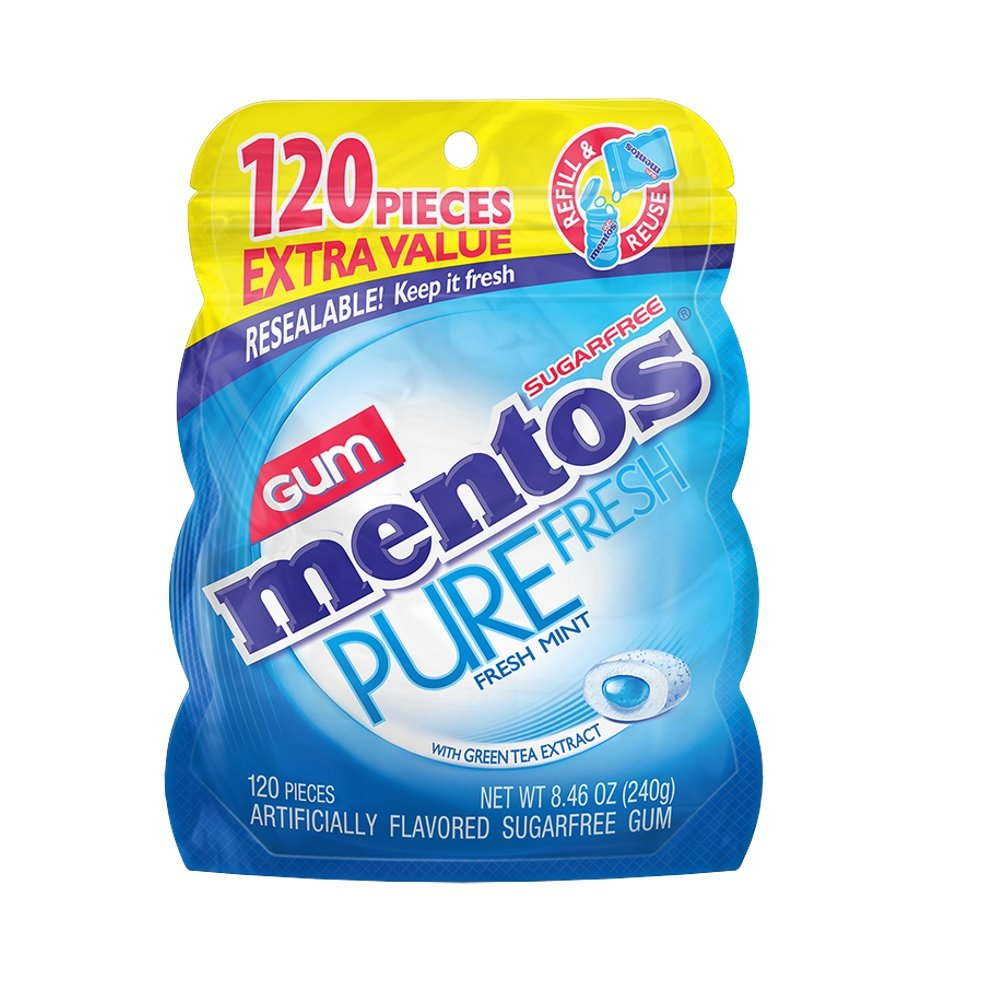 Mentos Pure Fresh Sugar-Free Chewing Gum with Xylitol, Fresh Mint, 120 Piece Bulk Resealable Bag