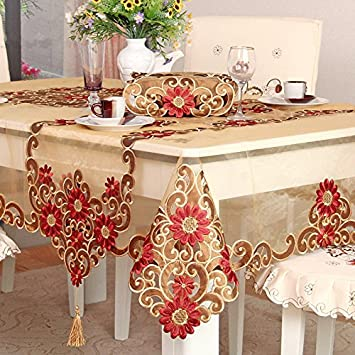 Lovely Ustide European Style Table Cloth Rustic Floral Pattern Tablecloth For  Christmas Hand Embroider Flower Table Decoration