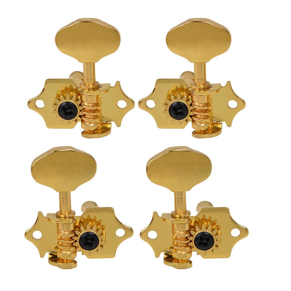 Kmise 2R2L 4 String Ukulele Tuning Pegs Machine Heads Tuners Keys Tuners Gold