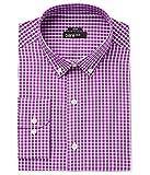 Bar III Mens Slim Fit Check Print Dress Shirt Purple M