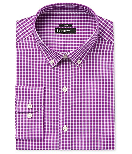 Bar III Mens Slim Fit Check Print Dress Shirt Purple M from Bar III
