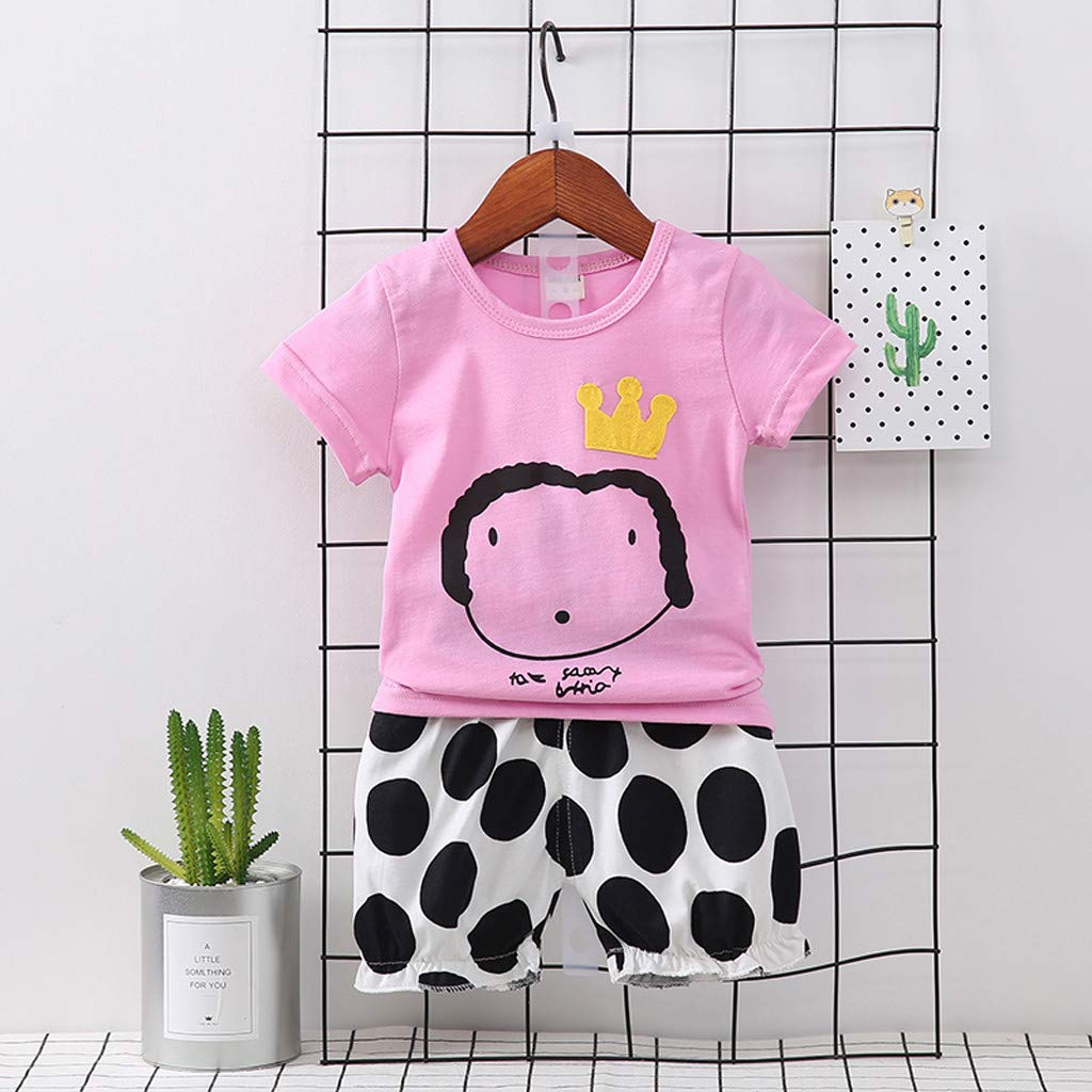 Babys Cartton Printed Playsuit,Suma-ma Kids Girl Boy Spots Print Tops T Shirt Striped Pants Outfits Set