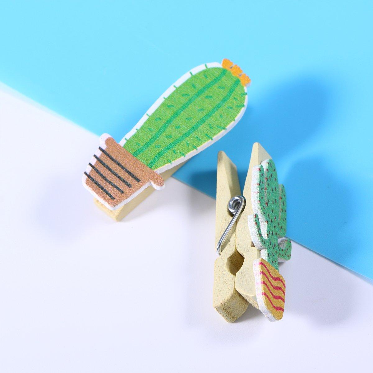 Tinksky Pinzas de madera de 50pcs cactus pinzas de fotos de artesan/ías con cuerda de c/á/ñamo