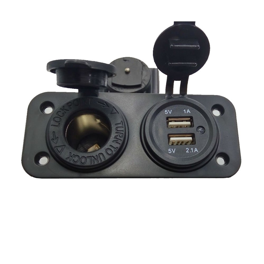 Guoke Dual Usb Phone Motorcycle Cigarette Lighter Socket Set Splitter 12V 2.1.. 12