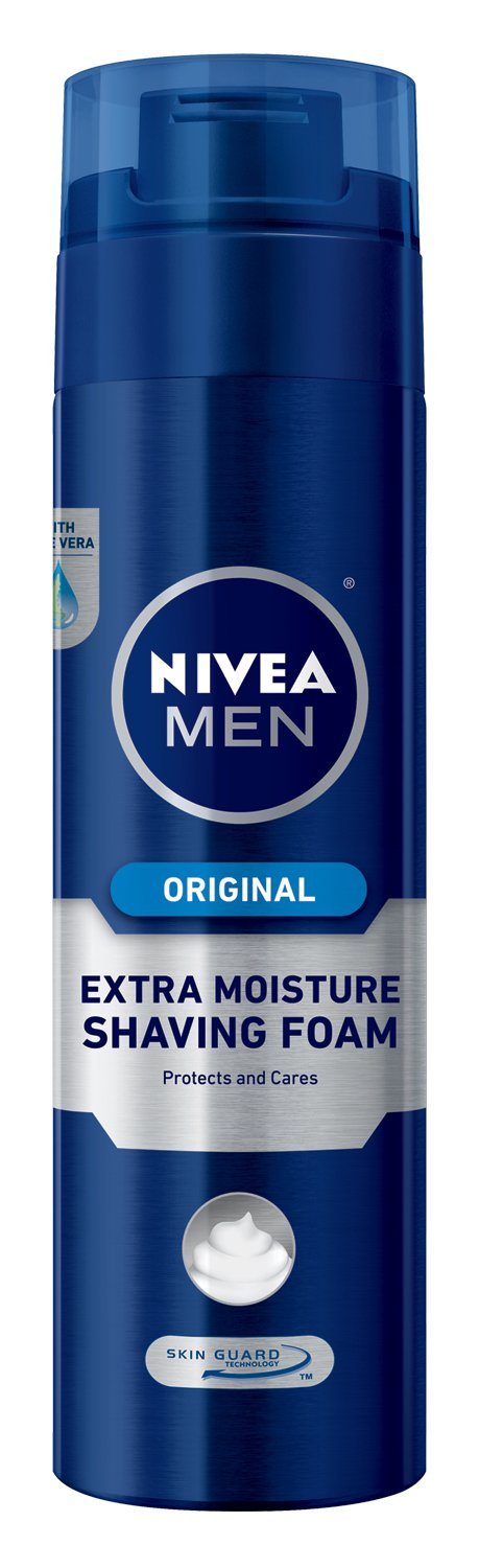NIVEA MEN Extra Moisture Skin Guard Shaving Foam, 8.7 oz Bottle (Pack of 3)