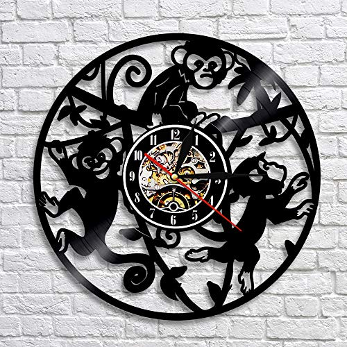 LIZHIHUI Wall Clocks Monkey Vinyl Record with Led Backlight Monkey On Tree Funny Anil Nursery Art Decor for Kids