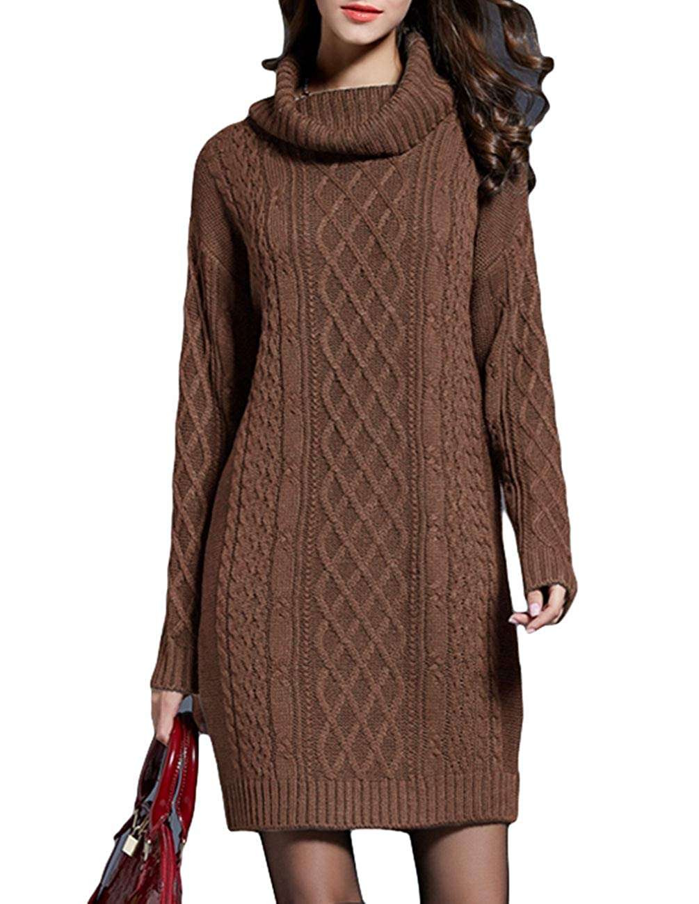 ace441c588 ZENUTA Women s Long Sleeve High Neck Chunky Cable Knit Pullover Sweater  Dress at Amazon Women s Clothing store