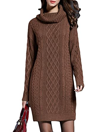 7f79a75d0f8 ZENUTA Women Sweater Casual Warm Long Sleeve Cowl NeckLong Style Sweaters  Dress