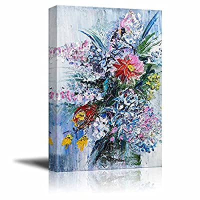 Bouquet of Spring Flowers in Oil Painting Style Wall Decor