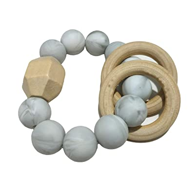 Alenybeby Infant Silicone Beads Teether Chew Nursing Bracelet for Baby Wooden Ring Teether Stroller Product Toys (Marble White): Toys & Games