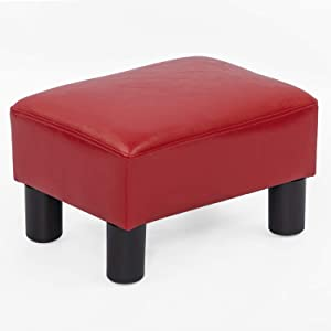 Joveco Ottoman Footrest Stool Furniture and Decor, Rectangular Red