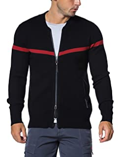 Rocorose Mens Knit Cardigan Sweater Zipper Long Sleeves with Pockets
