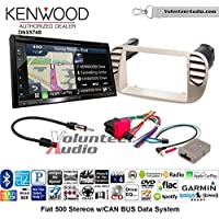 Volunteer Audio Kenwood DNX574S Double Din Radio Install Kit with GPS Navigation Apple CarPlay Android Auto Fits 2012-2015 Fiat 500 (White)