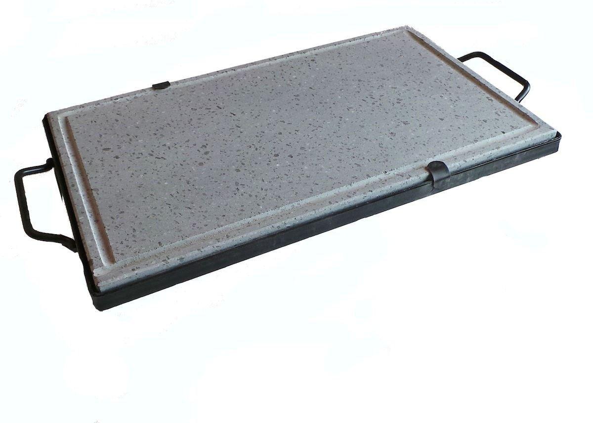 Piastra ollare lavica bistecchiera in pietra 40x30 cm cottura dietetica Pegoraro