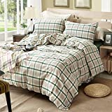 TheFit Paisley Textile Bedding for Adult U626 Green Brown Rustic Duvet Cover Set 100% Washed Cotton, Twin Queen King Set, 3-4 Pieces (King)
