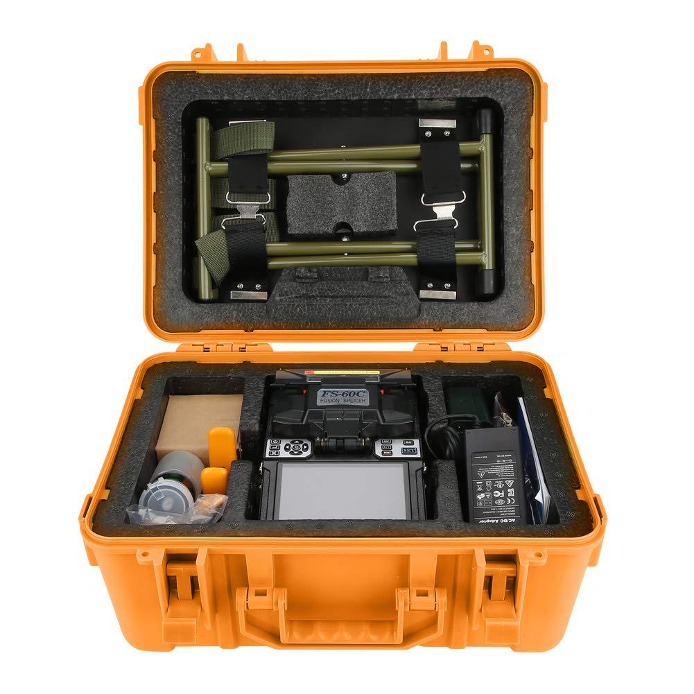 FS-60C Fusion Splicer,ASHATA Empalmador Fusionadora de Fibra Óptica Máquina de Empalme de Soldadura de Alta Precisión para SM (G.652 y G.657),MM (G.651),DS (G.653), NZDS(G.655),etc.(Amarillo)(plug EU)