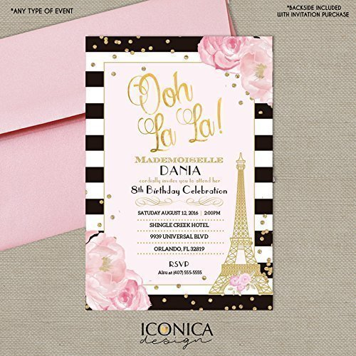 Modern French Party Invitations Paris Oh La Pink Black And White Invitation Marie Antoinette Printed Or Printable File Free Shipping
