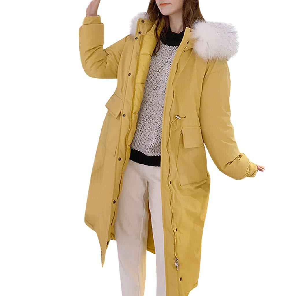 Alangbudu Women Warm Thick Plush Hoodie Cotton-Padded Windbreaker Long Sleeve Oversized Overcoat Zipper Jacket w Pocket Yellow by Alangbudu-Women's Long sleeve blouses & sweatshirts & hoodies