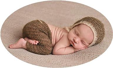 D/&J Newborn Baby Photo Prop Hand Knit Mohair Baby Bonnet