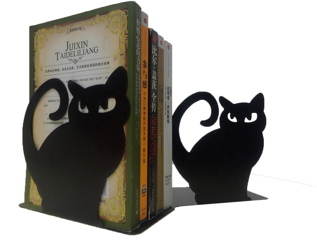 Winterworm Cute Vivid Lovely Persian Cat Nonskid Thickening Iron Metal Bookends Book Organizer For Library School Office Home Study Desk Organizer Perfect Mother's Day Gift(Black)