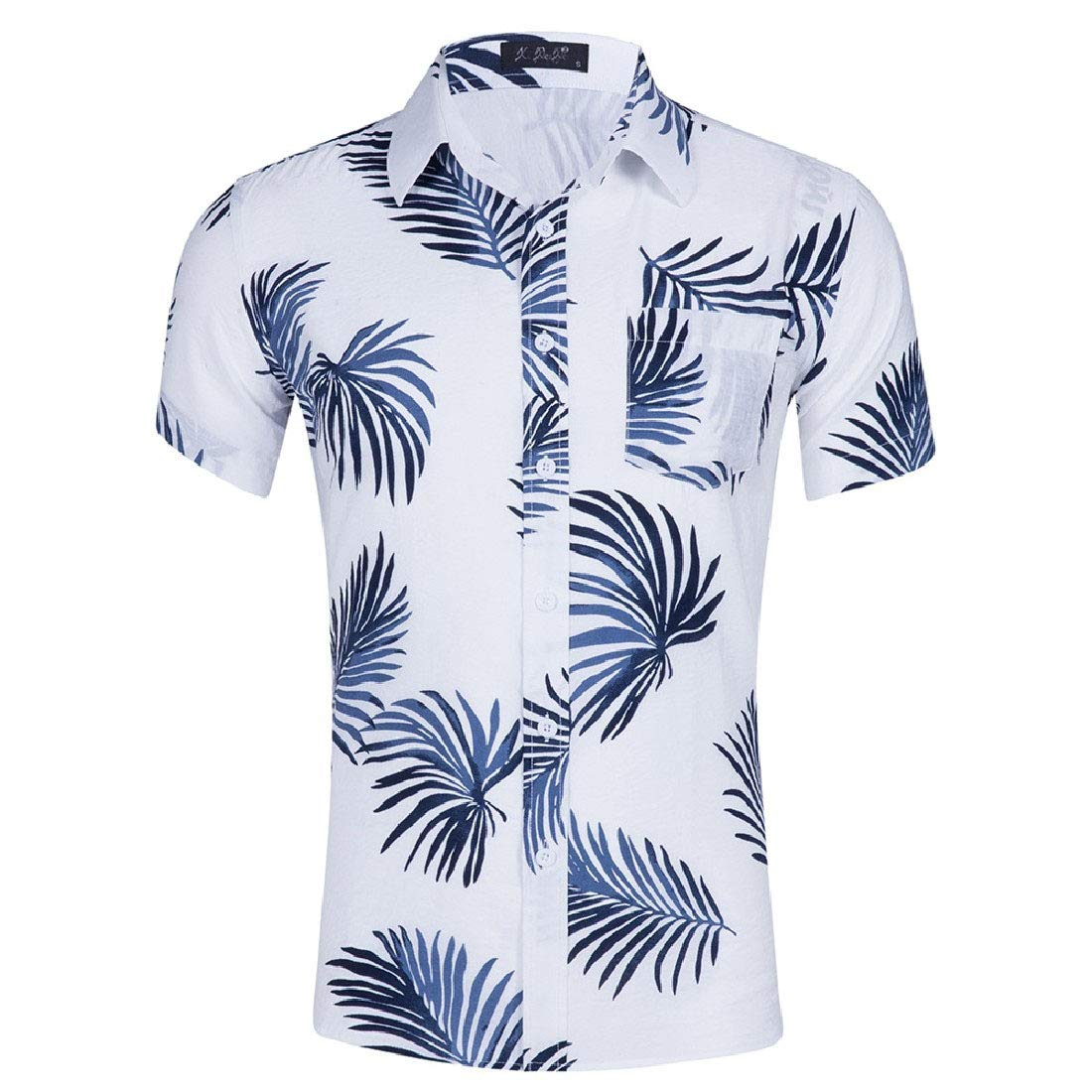 Highisa Mens Button Up Short Sleeve Printed Turn-Down Collar T-Shirts Shirts