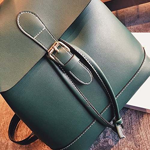 Rucksack Bags Leather Girls Green Womens Backpack TUDUZ Hiking Travel School Brown Women Backpack Teenagers Fashion Backpacks qxUBw07