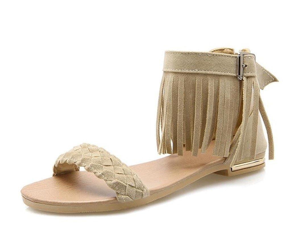 WEIQI-Sandale für Damen sandgestrahlte Sandalen mit Fransen Reißverschluss Hinten Hinten Hinten Rutschfeste Sohle 1 cm 34-41 11f2e0