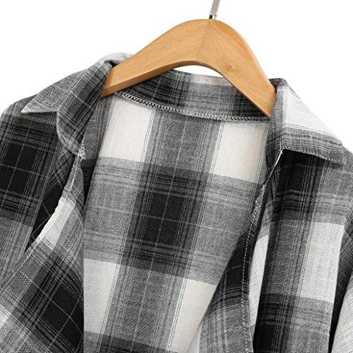 Manica Lunga Grigio Elegante T Overdose Shirt Maglietta Camicie Blusa Cardigan Donne Plaid 5SU1n1qB