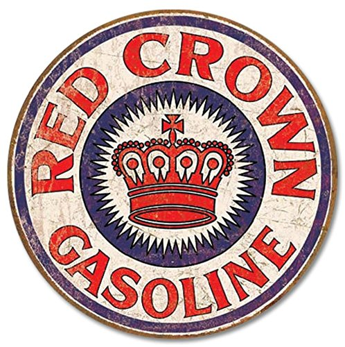 Gasoline Sign Vintage (Red Crown Gas Distressed Round Tin Sign 12 x 12in)