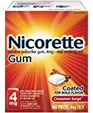 Nicorette 4mg Nicotine Gum to Quit Smoking - Surge Flavored Stop Smoking Aid, Cinnamon, 160 Count