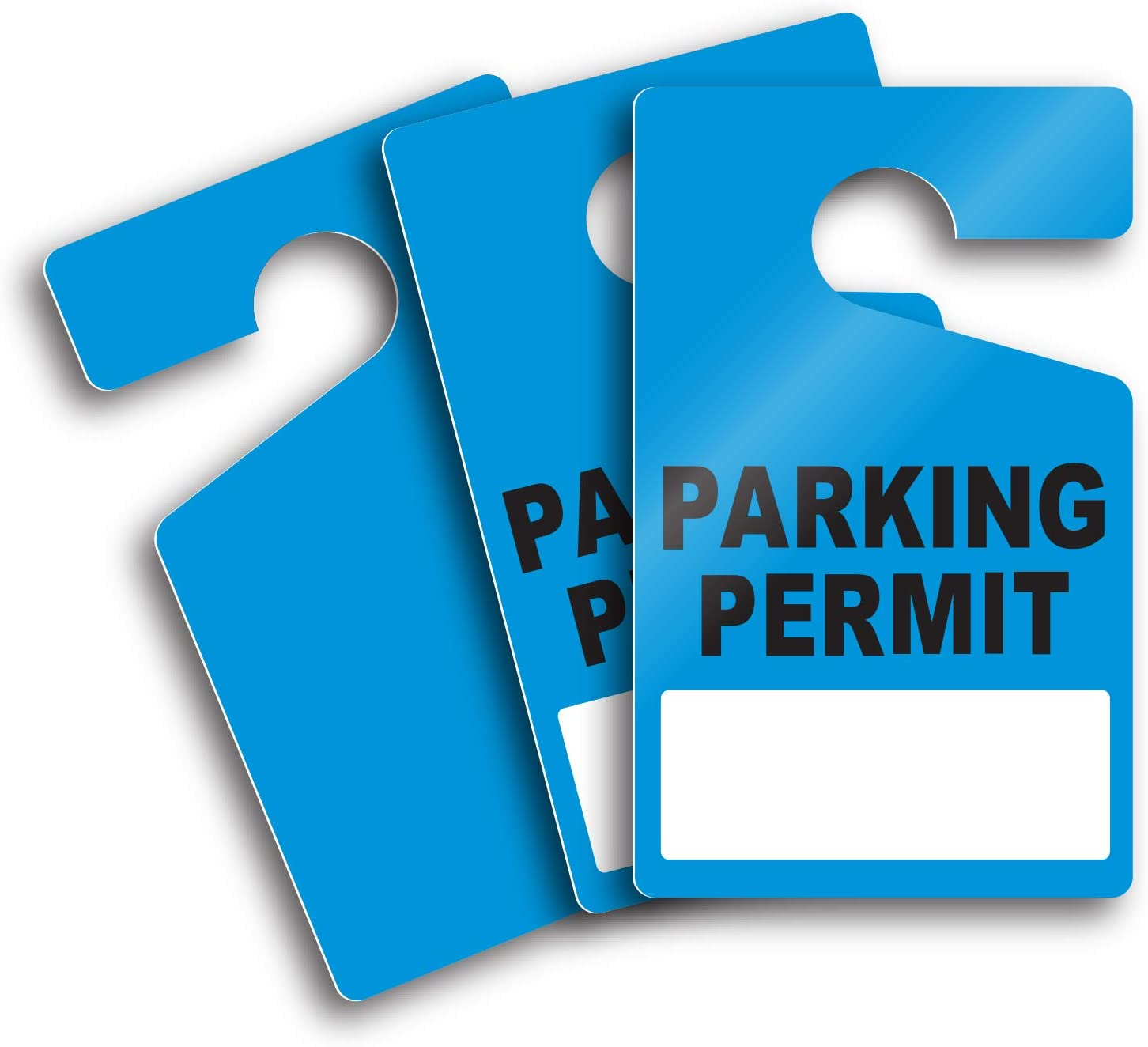 """Milcoast Large 3"""" x 5"""" Parking Permit Pass Hang Tag - for Employees, Tenants, Students, Businesses, Offices, Apartments - 10 Pack (Blue)"""