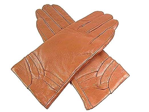 check out 25ae0 93efc Emporium Leather Damen Weiches Echtleder Gefütterte Handschuhe Überlappung  Detail