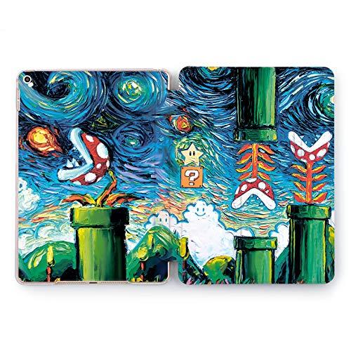 Wonder Wild Mario World Print Case IPad 9.7 2017 A1822 A1823 2018 A1893 A1954 Air 2 A1566 A1567 6th Gen Clear Design Smart Hard Cover Skin Texture Watercolor Art Look Dendi Games Nostalgy Original