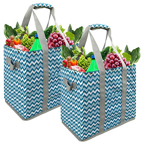 Reusable Grocery Bags Set 2 Pack With Long Handles Shopping Bags Collapsible Heavy Duty Extra Large Tote Bags Foldable…