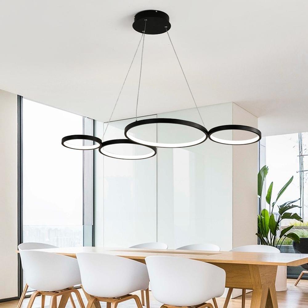 OOTEN Dimmbare Fernbedienung Modern LED Hängeleuchte Geometrie Ring Design Acryl Decke Pendellampe Für Esszimmer Schlafzimmer Wohnzimmer 4 Ringe