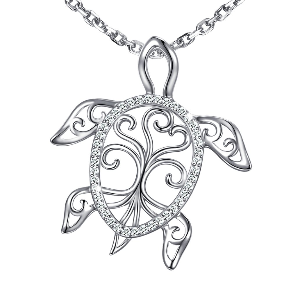 MANBU 925 Sterling Silver Charm Sea Turtle Unique Tree of Life Pendant Necklace Tortoise Animal for Women